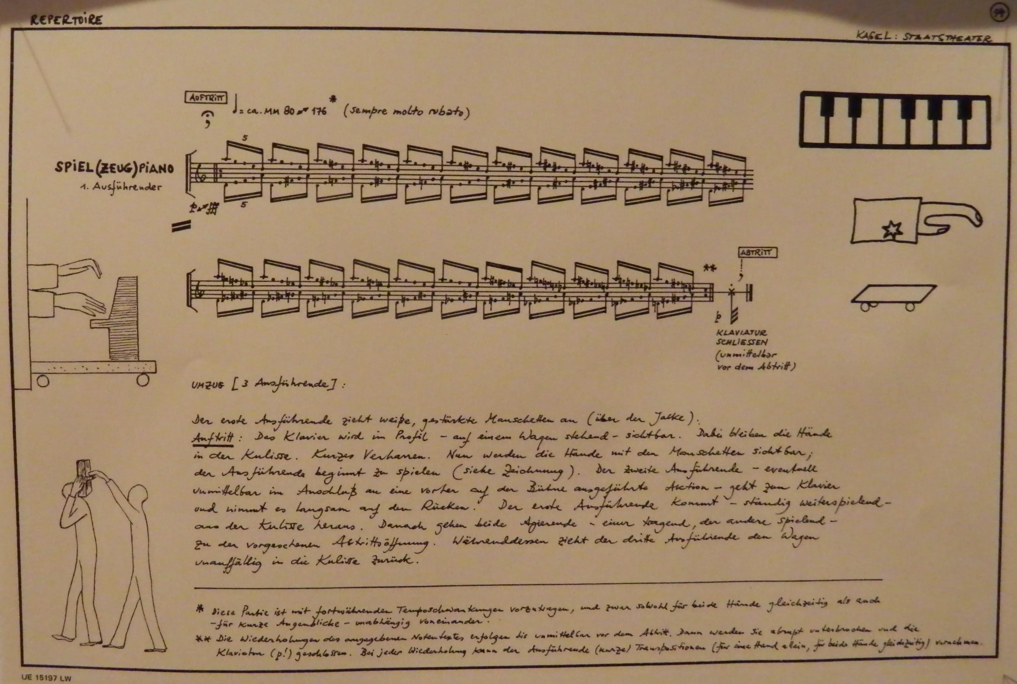 Una de las partituras de Repertoire aus Staatstheater, de Mauricio Kagel